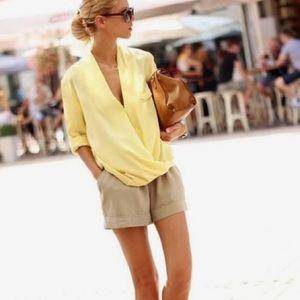 Vintage yellow linen blouse top